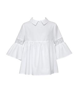 Piękna bluzka z szerokimi rękawami 128-158 138/S/29 Biała