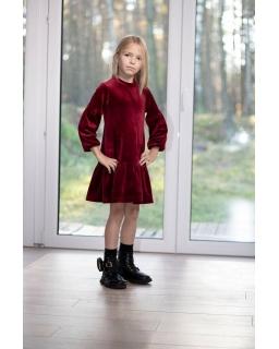 Welurowa sukienka z falbanką 128-158 P-203