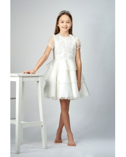 Elegancka tiulowa sukienka 146-164 Alina jasny krem