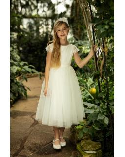 Pokomunijna tiulowa sukienka midi 1SM-06B ecru