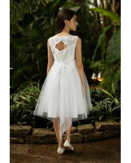 Piękna sukienka z koronkowym tyłem 140-164 1SM-21A biała