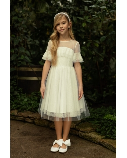 Koronkowa sukienka pokomunijna 140-170 1SM-19 ecru