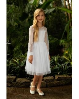Komunijna sukienka dla dziewczynki 140-164 1SM-17 biały