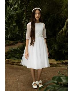 Biała sukienka pokomunijna z rękawkiem 134-158 1SM-07
