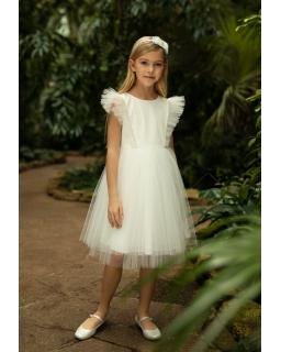 Elegancka sukienka z tiulowymi rękawkami 1SM-20 ecru