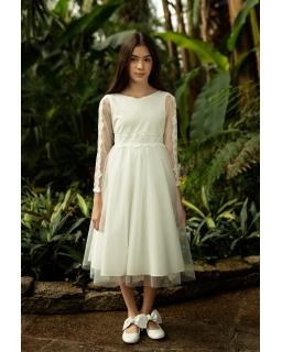 Elegancka sukienka pokomunijna z rękawkiem 140-164 1SM-18B ecru