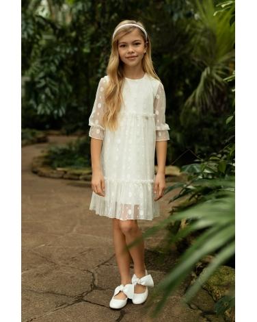 Koronkowa sukienka pokomunijna 140-164 1SM-11 ecru
