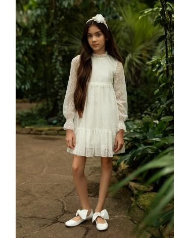 Stylowa sukienka pokomunijna 140-170 1SM-10A ecru 1