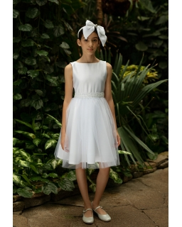 Stylowa sukienka pokomunijna 128-158 1SM-02 biały