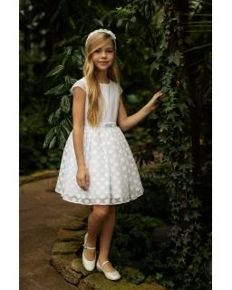 Sukienka w grochy w stylu retro 134-158 1SM-24 biała 1