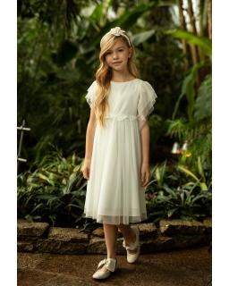Lekka i elegancka sukienka pokomunijna 140-164 1SM-05B ecru