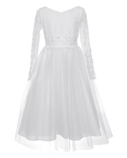 Wytworna sukienka pokomunijna 140-164 1SM-18A Biała 1