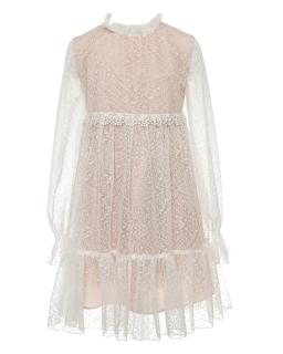 Koronkowa sukienka dla dziewczynki 140-170 1SM-10B łososiowy 1