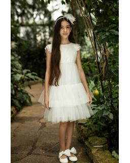Pokomunijna sukienka dla dziewczynki 128-158 22/SM/20 ecru 1