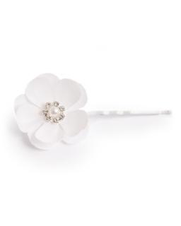 Lekka wsuwka z białym kwiatkiem i perłą WSK20
