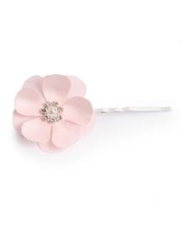 Lekka wsuwka z różowym kwiatkiem i perłą WSK20