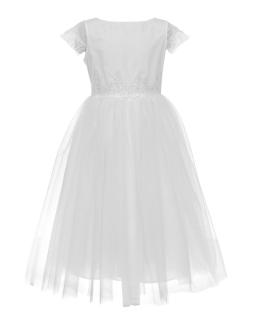 Komunijna sukienka midi 140-164 1SM-06A biała