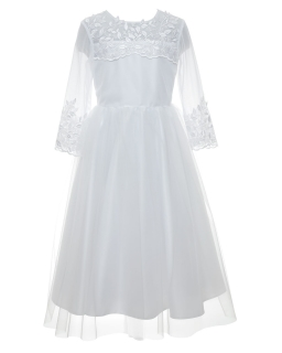 Piękna komunijna sukienka z rękawkiem 146-152 4A /SM/20
