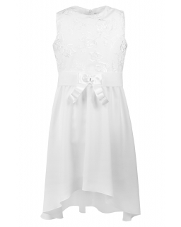 Kremowa sukienka z dłuższym tyłem 140-164 Katia