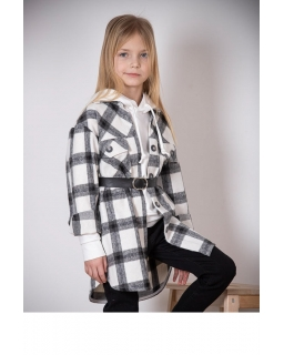 Modny blezer-płaszcz w kratę 128-158 K-123 biały-czarny