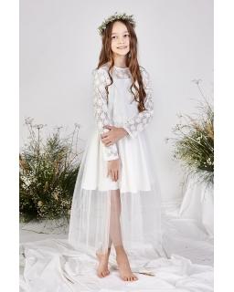 Pokomunijna sukienka z koronkowym rękawkiem 140-158 Anet biały