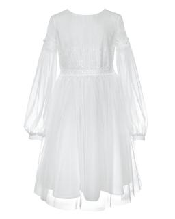 Komunijna sukienka z rękawkiem 140-164 1SM-22A biała
