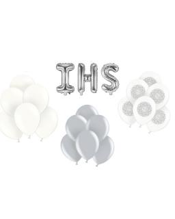 ZESTAW balonów biało-srebrny BAL02