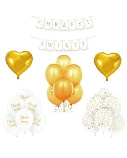 ZESTAW balonów biało-złoty chrzest BAL04