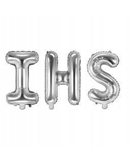Srebrne balony IHS komunia dodatki 35 cm BAL09