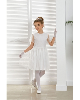 Pokomunijna sukienka w kropeczki 128-152 Lauren biała