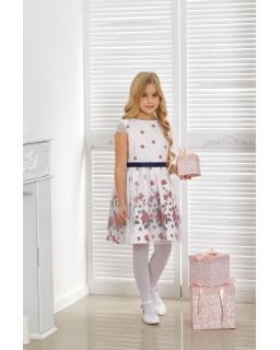 Wyjściowa sukienka dla dziewczynki 128-152 Gracie biel plus granat