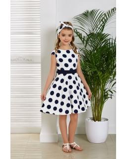 Rozkloszowana sukienka w kółka 134-164 Marabella