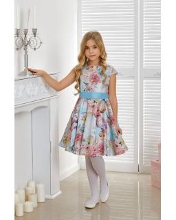 Piękna pastelowa sukienka kwiaty 134-164 Victoria niebieska