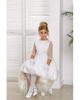 Komunijna sukienka z delikatnym rękawkiem 134-164 Madelyn biała