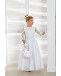Długa komunijna sukienka z satyny 134-158 Naomi biel