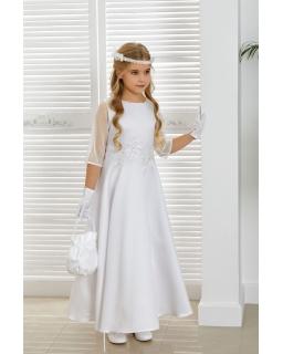Komunijna sukienka z satyny 134-152 Aalija biała