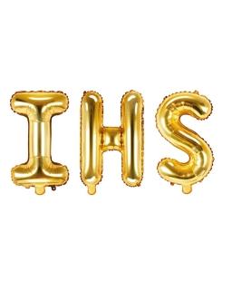 Złote balony IHS komunia dodatki 35 cm BAL12