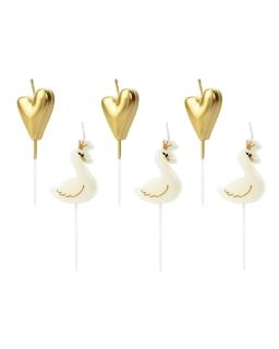 Świeczki urodzinowe złote serca i łabędzie UR01
