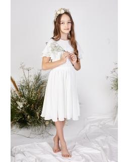 Elegancka sukienka dla dziewczynki 140-164 Leonia ecru