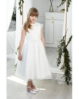 Sukienka komunijna z koronkową górą midi 140-152 Sofija ecru