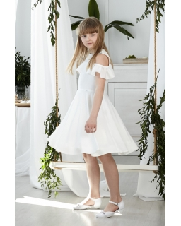 Pokomunijna sukienka z falbanką 134-164 Robin ecru