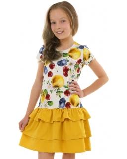 Sukienka w owoce z falbankami 116-158 KRP332 żółty plus ecru