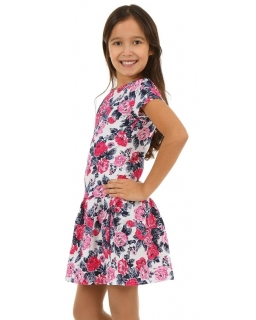 Wygodna sukienka bawełniana 116-158 KRP00 różowe kwiaty