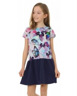 Sukienka z nadrukiem w motyle 116-158 KRP139 motyl 02