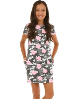 Moro sukienka tuba z kieszeniami 116-158 KRP143 szaro-różowa