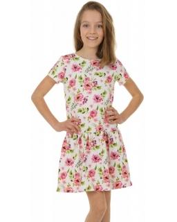 Sukienka letnia z nadrukiem 116-158 KRP380 różyczki