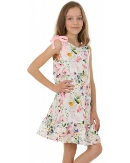 Sukienka letnia z wiąznymi ramiączkami KRP381 kwiaty