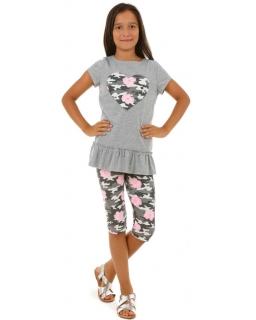 Krótkie legginsy z nadrukiem 116-158 KRP383 kwiaty moro