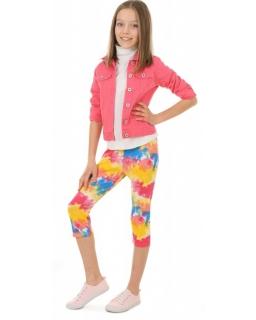 Kolorowe legginsy 3/4 116-158 KRP384 akwarela 01