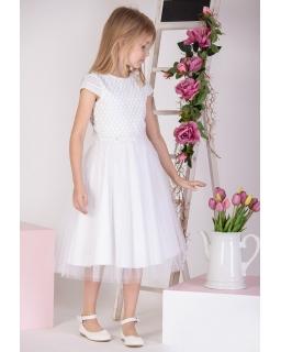Modna sukienka midi z naszywką 128-158 P-176 ecru